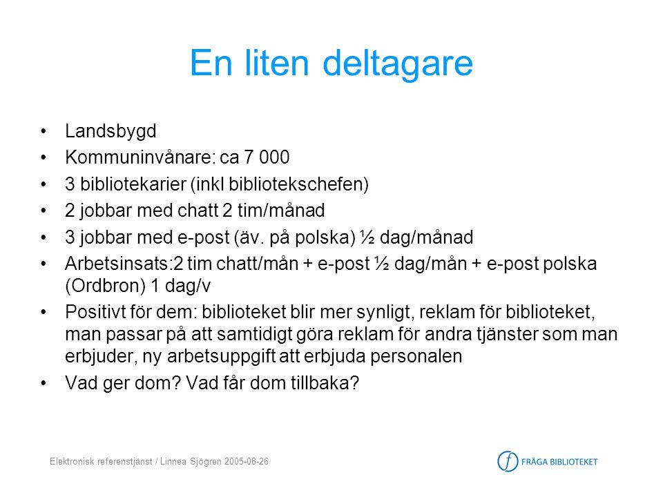 Elektronisk referenstjänst / Linnea Sjögren 2005-08-26 En liten deltagare •Landsbygd •Kommuninvånare: ca 7 000 •3 bibliotekarier (inkl bibliotekschefe