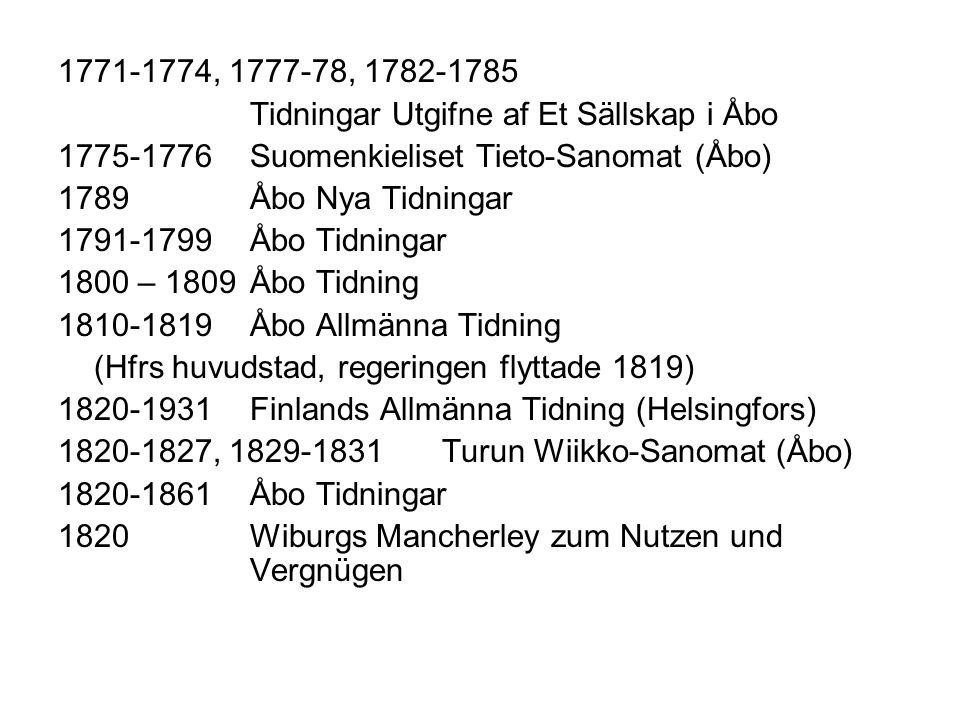 1771-1774, 1777-78, 1782-1785 Tidningar Utgifne af Et Sällskap i Åbo 1775-1776 Suomenkieliset Tieto-Sanomat (Åbo) 1789 Åbo Nya Tidningar 1791-1799Åbo