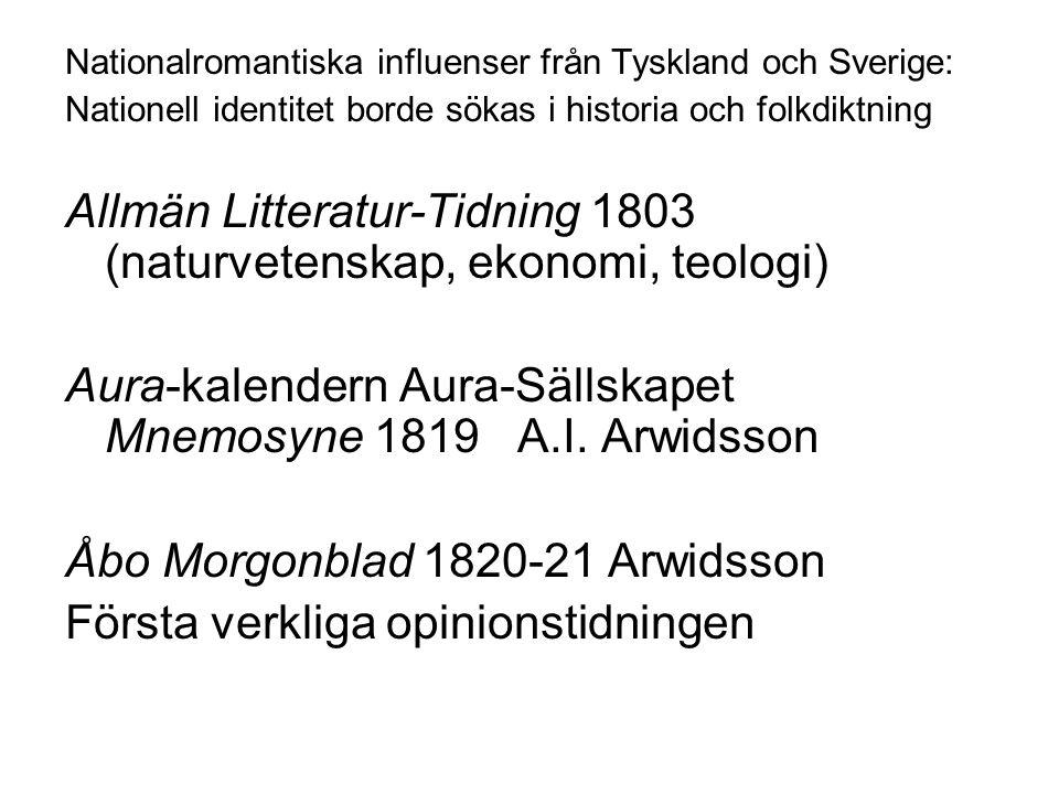 Nationalromantiska influenser från Tyskland och Sverige: Nationell identitet borde sökas i historia och folkdiktning Allmän Litteratur-Tidning 1803 (n