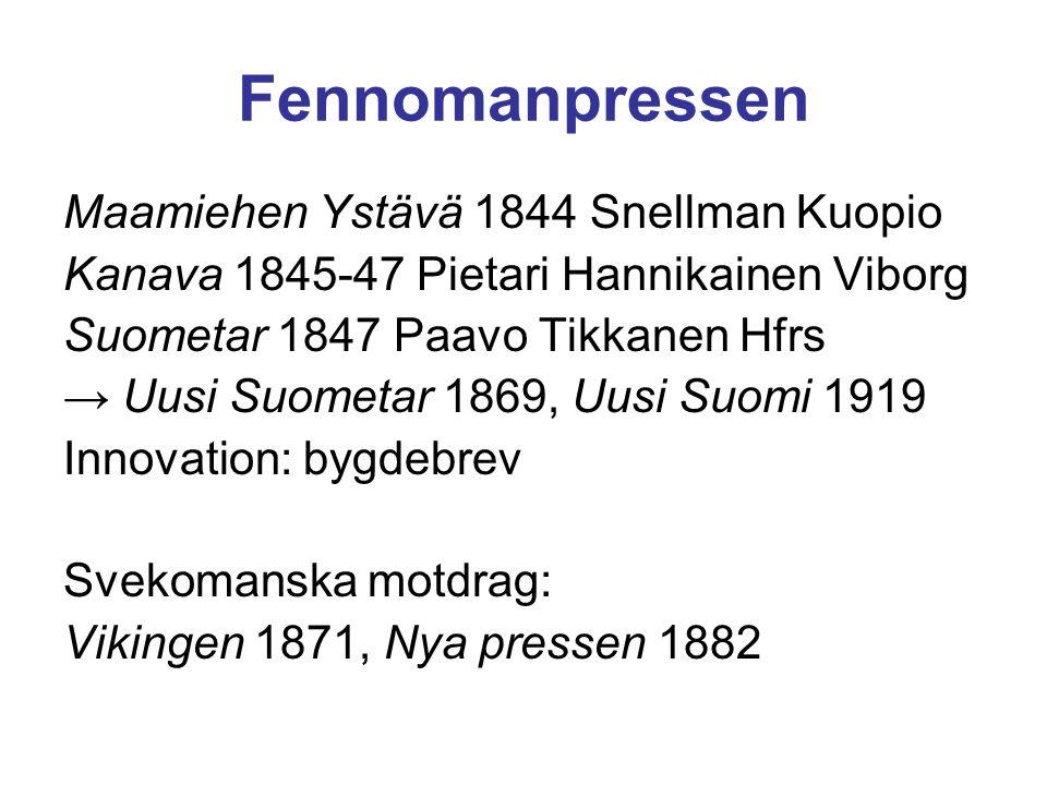Fennomanpressen Maamiehen Ystävä 1844 Snellman Kuopio Kanava 1845-47 Pietari Hannikainen Viborg Suometar 1847 Paavo Tikkanen Hfrs → Uusi Suometar 1869