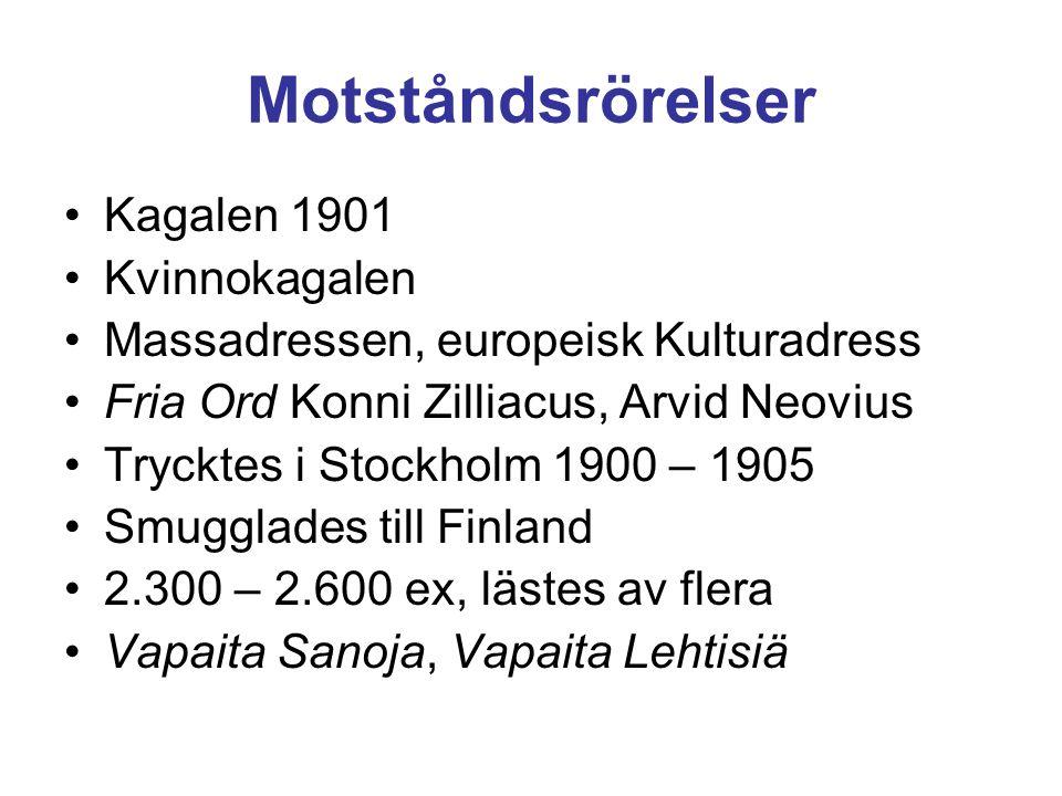 Motståndsrörelser •Kagalen 1901 •Kvinnokagalen •Massadressen, europeisk Kulturadress •Fria Ord Konni Zilliacus, Arvid Neovius •Trycktes i Stockholm 19
