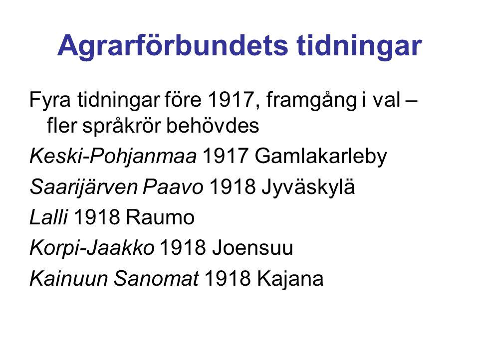 Agrarförbundets tidningar Fyra tidningar före 1917, framgång i val – fler språkrör behövdes Keski-Pohjanmaa 1917 Gamlakarleby Saarijärven Paavo 1918 J
