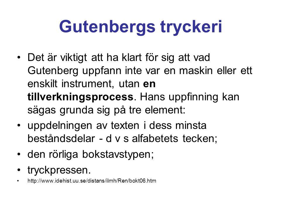 Gutenbergs tryckeri •Det är viktigt att ha klart för sig att vad Gutenberg uppfann inte var en maskin eller ett enskilt instrument, utan en tillverkni