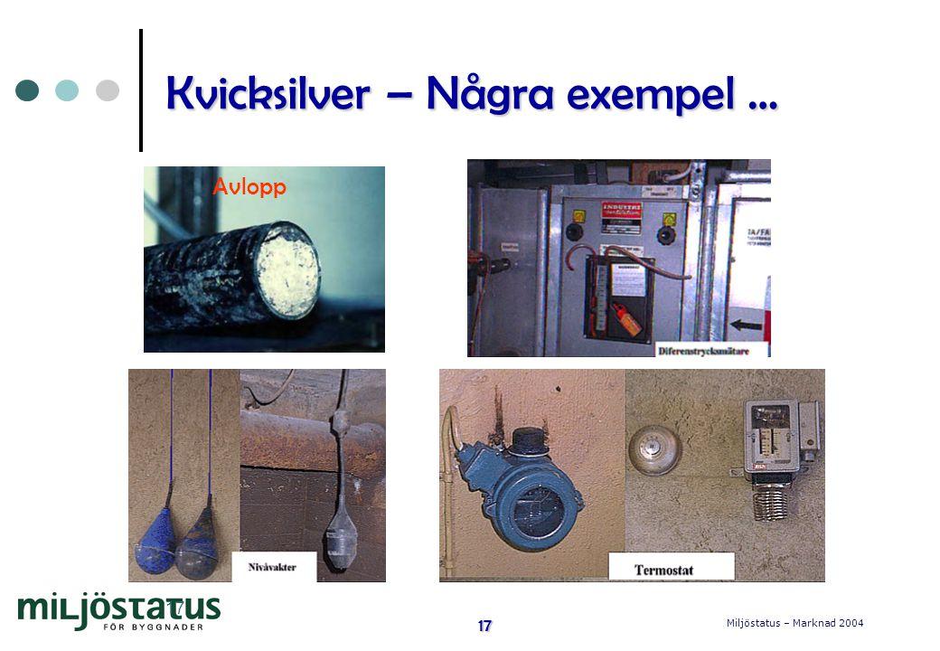 Miljöstatus – Marknad 2004 17 17 Kvicksilver – Några exempel … Avlopp