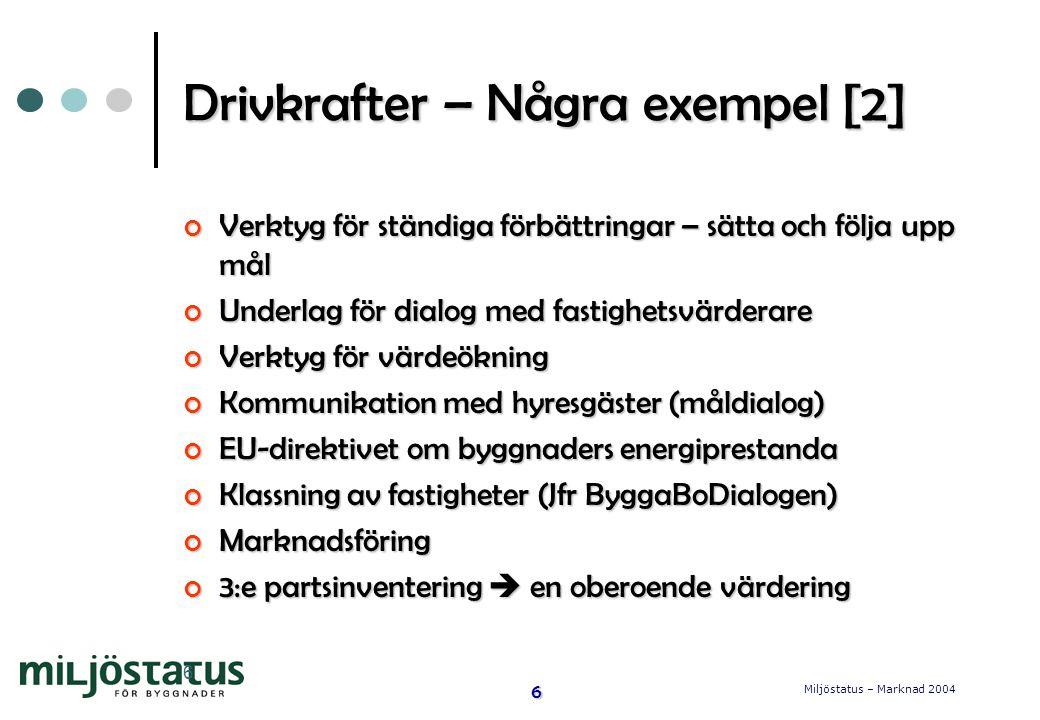Miljöstatus – Marknad 2004 6 6 Drivkrafter – Några exempel [2] Verktyg för ständiga förbättringar – sätta och följa upp mål Underlag för dialog med fastighetsvärderare Verktyg för värdeökning Kommunikation med hyresgäster (måldialog) EU-direktivet om byggnaders energiprestanda Klassning av fastigheter (Jfr ByggaBoDialogen) Marknadsföring 3:e partsinventering  en oberoende värdering
