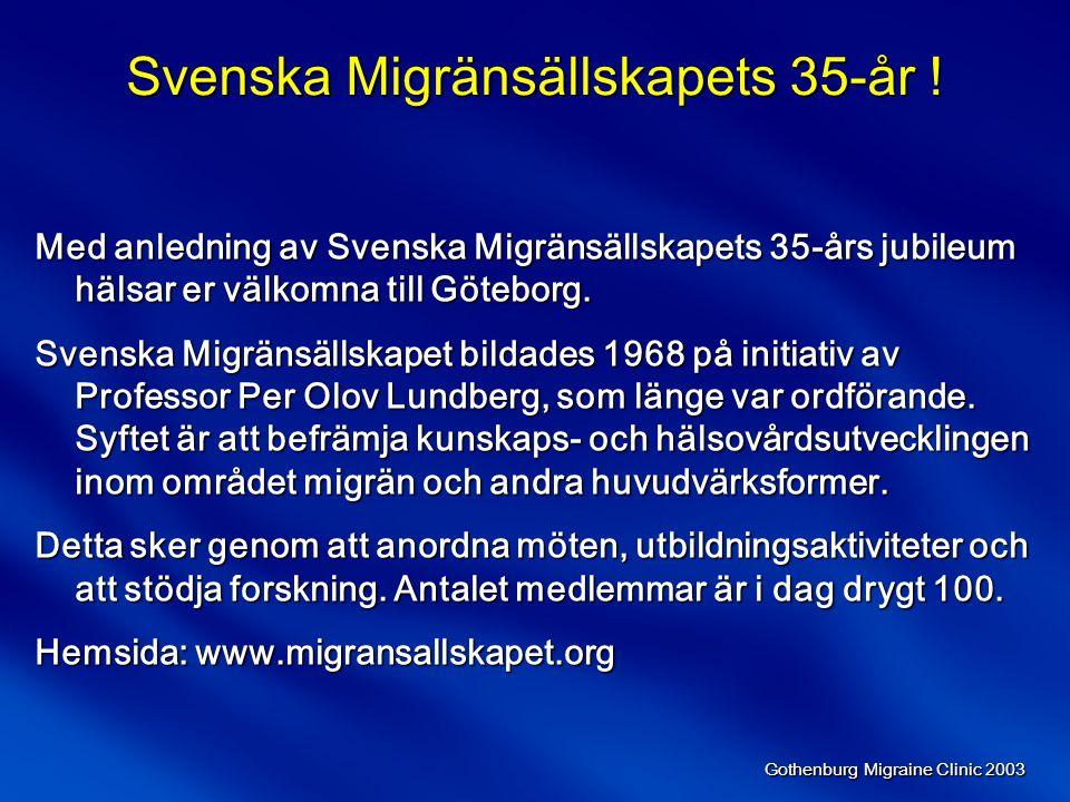 Gothenburg Migraine Clinic 2003 Förebyggande LM-behandling  Beta-blockerare  Kalciumkanalblockerare  Serotoninantagonister  Antiepileptika  Antidepressiva  NSAID