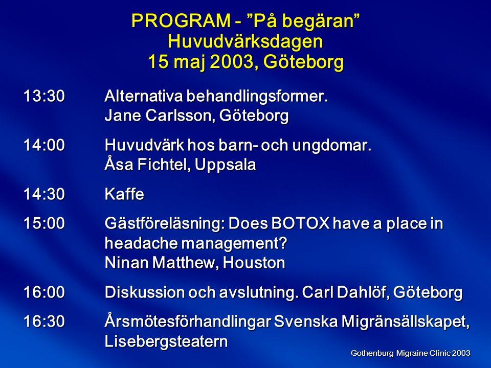 Gothenburg Migraine Clinic 2003 Jämförelse av fyra olika administreringsvägar Berednings- form InjektionStolpillerNässprayTablett Användar- vänligt +++++++++ Snabbt insättande +++++++ Effekter+++++++++ Tillförlitlighet++++(+)+++ Tolerabilitet+++++++(+)