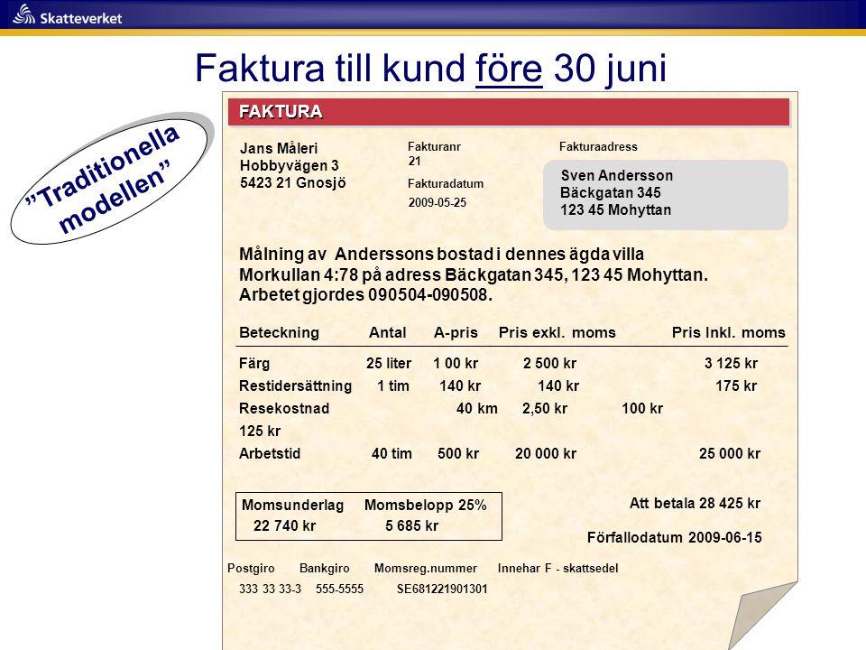 Faktura till kund före 30 juni FAKTURA Fakturanr Fakturadatum Fakturaadress Målning av Anderssons bostad i dennes ägda villa Morkullan 4:78 på adress