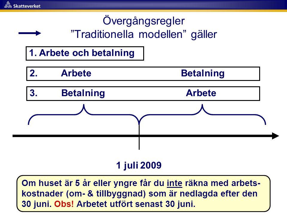 """Övergångsregler """"Traditionella modellen"""" gäller 1 juli 2009 3. Betalning Arbete 2. Arbete Betalning 1. Arbete och betalning Om huset är 5 år eller yng"""