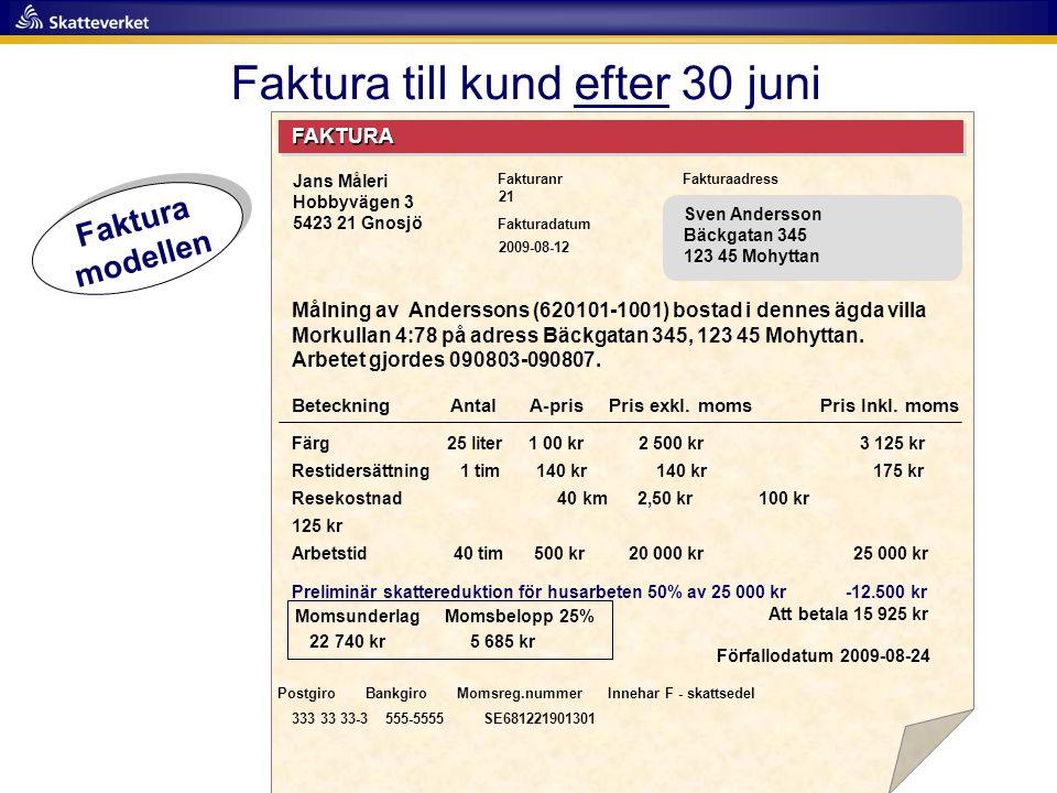 Faktura till kund efter 30 juni FAKTURA Fakturanr Fakturadatum Fakturaadress Målning av Anderssons (620101-1001) bostad i dennes ägda villa Morkullan