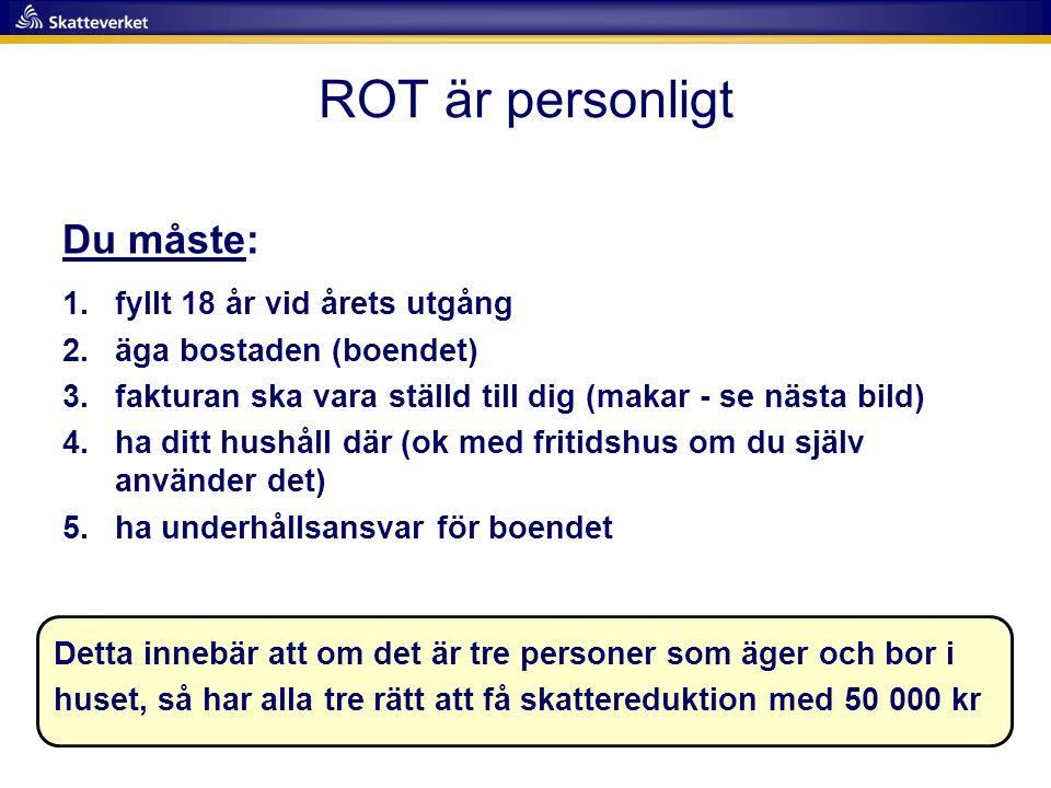 Klicka på Husarbeten/ROT