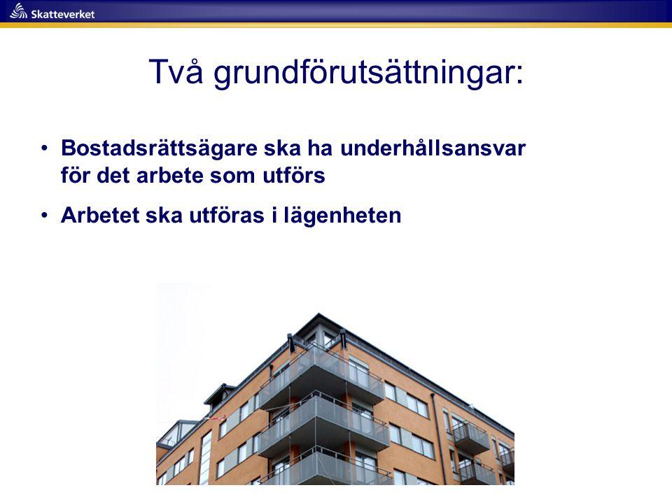 Två grundförutsättningar: •Bostadsrättsägare ska ha underhållsansvar för det arbete som utförs •Arbetet ska utföras i lägenheten