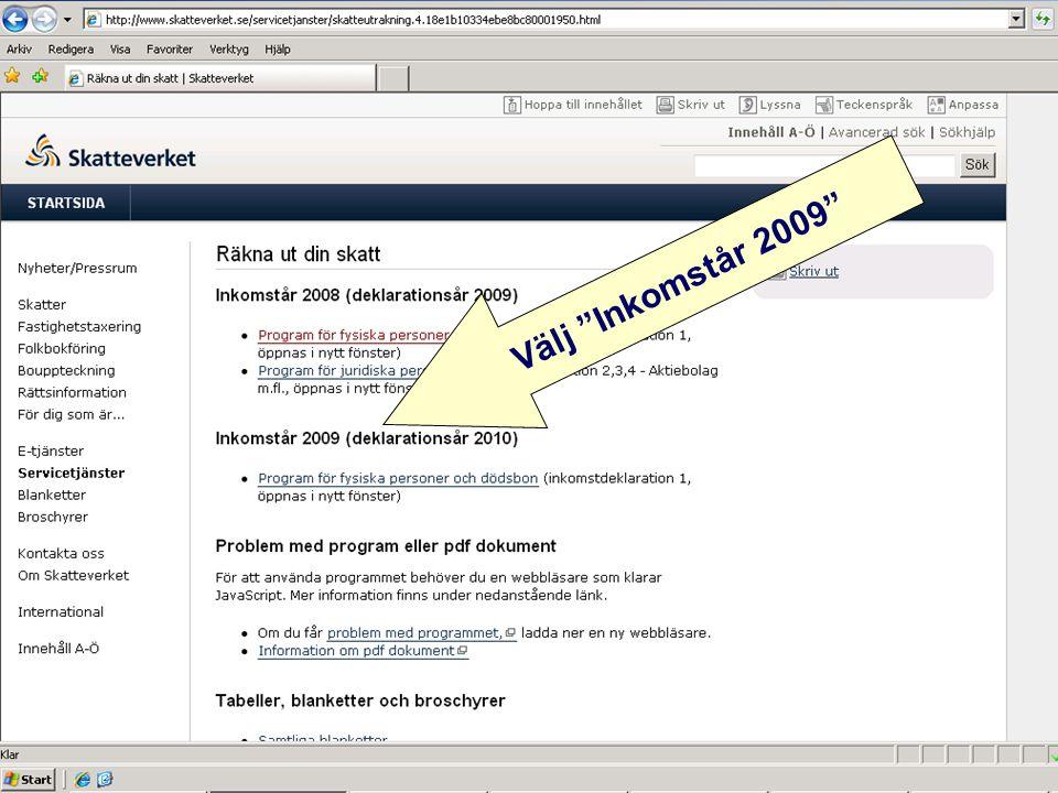 """Välj """"Inkomstår 2009"""""""
