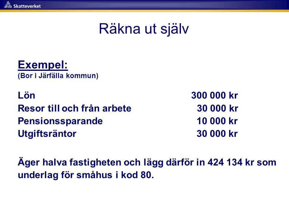 Räkna ut själv Exempel: (Bor i Järfälla kommun) Lön 300 000 kr Resor till och från arbete 30 000 kr Pensionssparande 10 000 kr Utgiftsräntor 30 000 kr