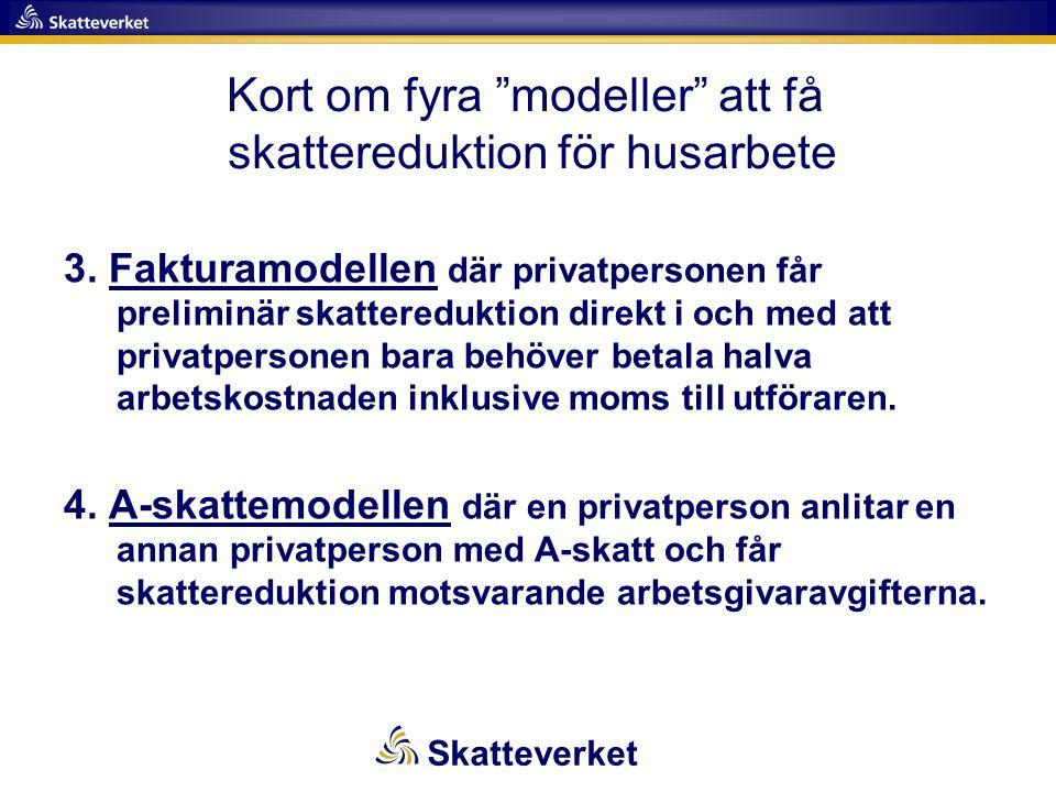 3. Fakturamodellen där privatpersonen får preliminär skattereduktion direkt i och med att privatpersonen bara behöver betala halva arbetskostnaden ink