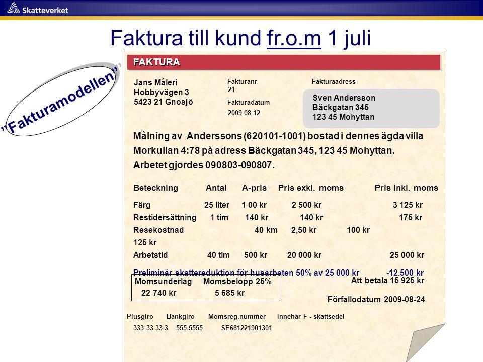 Faktura till kund fr.o.m 1 juli FAKTURA Fakturanr Fakturadatum Fakturaadress Målning av Anderssons (620101-1001) bostad i dennes ägda villa Morkullan