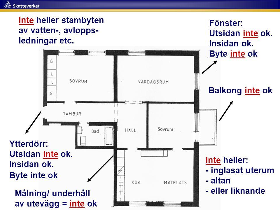 Balkong inte ok Målning/ underhåll av utevägg = inte ok Inte heller: - inglasat uterum - altan - eller liknande Ytterdörr: Utsidan inte ok. Insidan ok