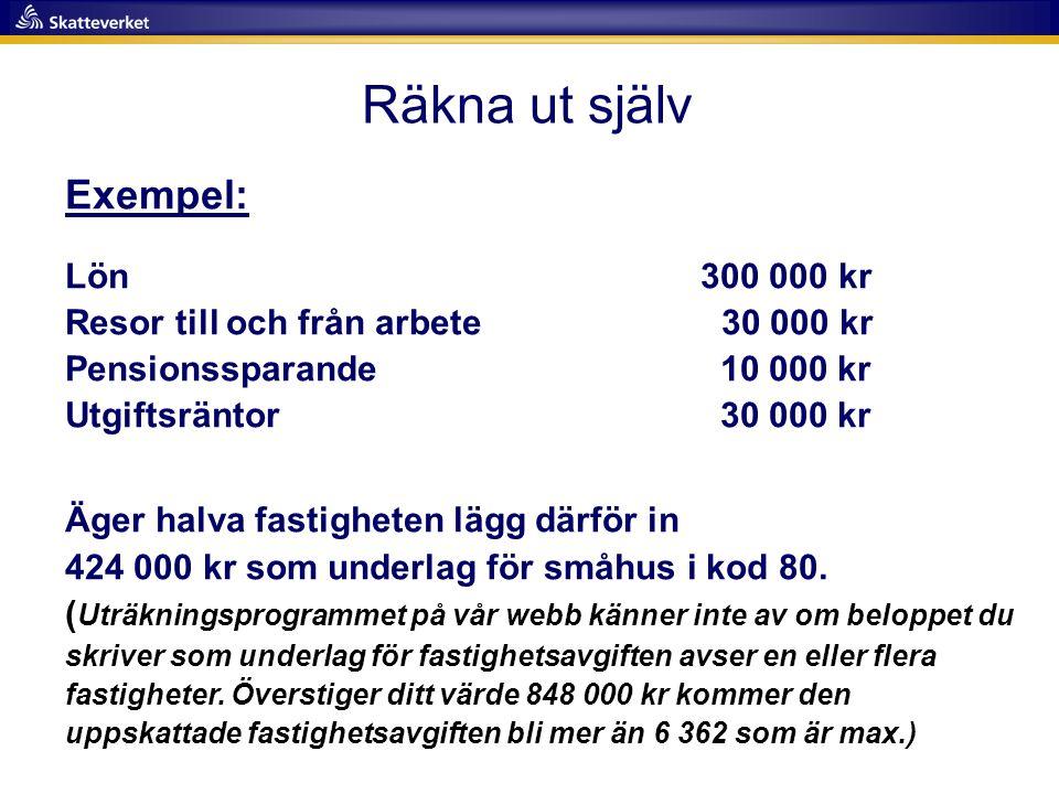 Räkna ut själv Exempel: Lön 300 000 kr Resor till och från arbete 30 000 kr Pensionssparande 10 000 kr Utgiftsräntor 30 000 kr Äger halva fastigheten