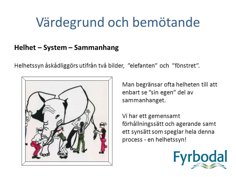"""Värdegrund och bemötande Helhet – System – Sammanhang Helhetssyn åskådliggörs utifrån två bilder, """"elefanten"""" och """"fönstret"""". Man begränsar ofta helhe"""
