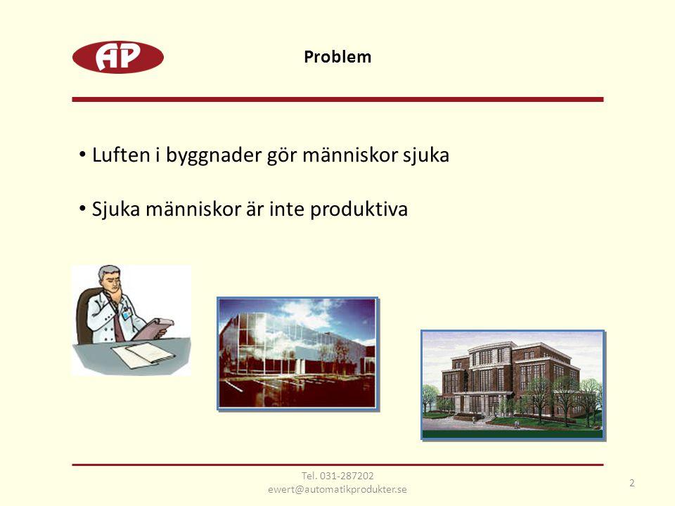 • Luften i byggnader gör människor sjuka • Sjuka människor är inte produktiva 2 Tel. 031-287202 ewert@automatikprodukter.se Problem