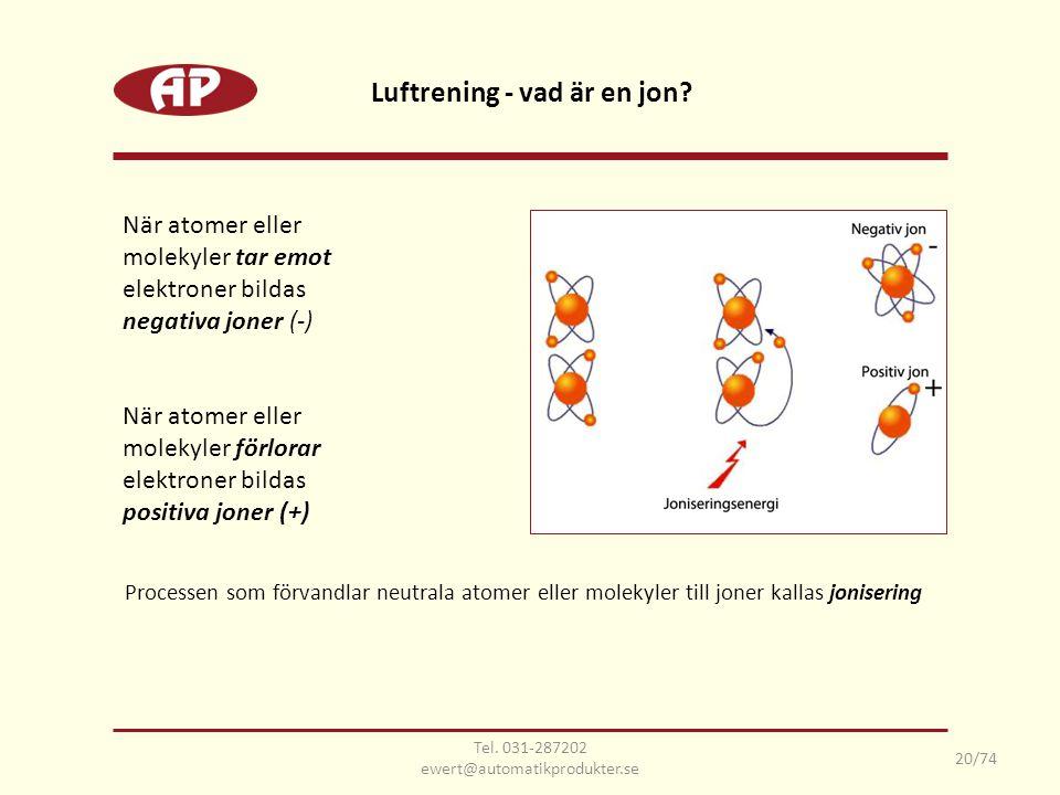 Processen som förvandlar neutrala atomer eller molekyler till joner kallas jonisering Luftrening - vad är en jon? 20/74 När atomer eller molekyler tar