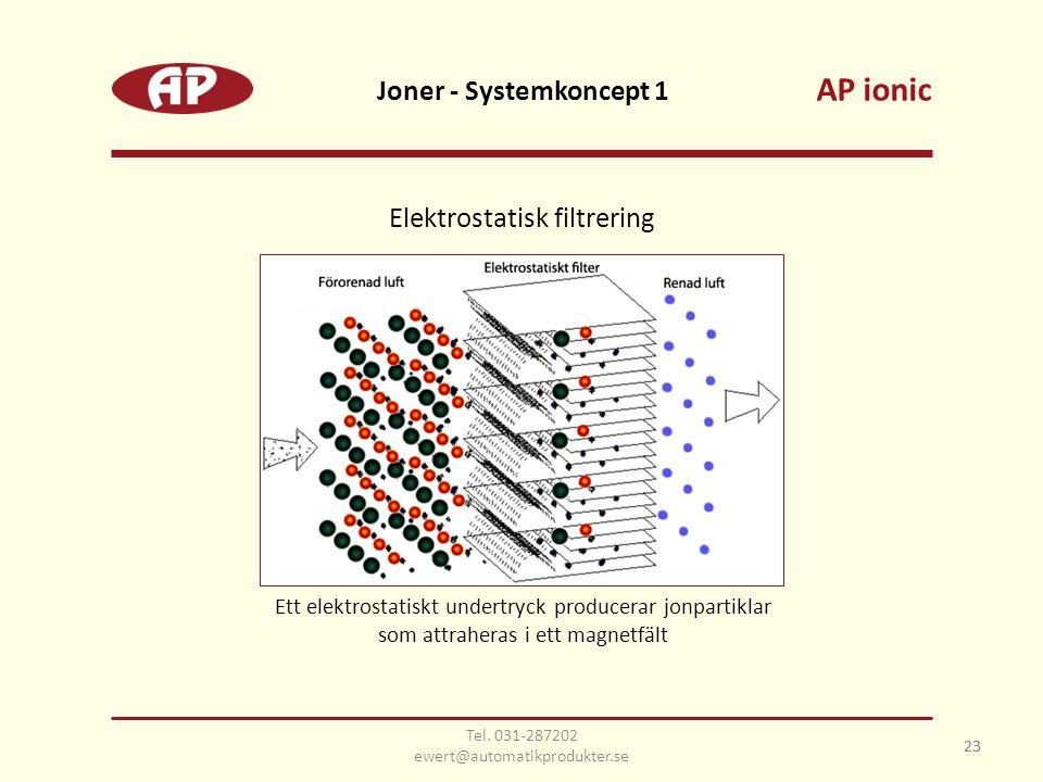 23 Joner - Systemkoncept 1 23 Elektrostatisk filtrering Ett elektrostatiskt undertryck producerar jonpartiklar som attraheras i ett magnetfält AP ionic Tel.