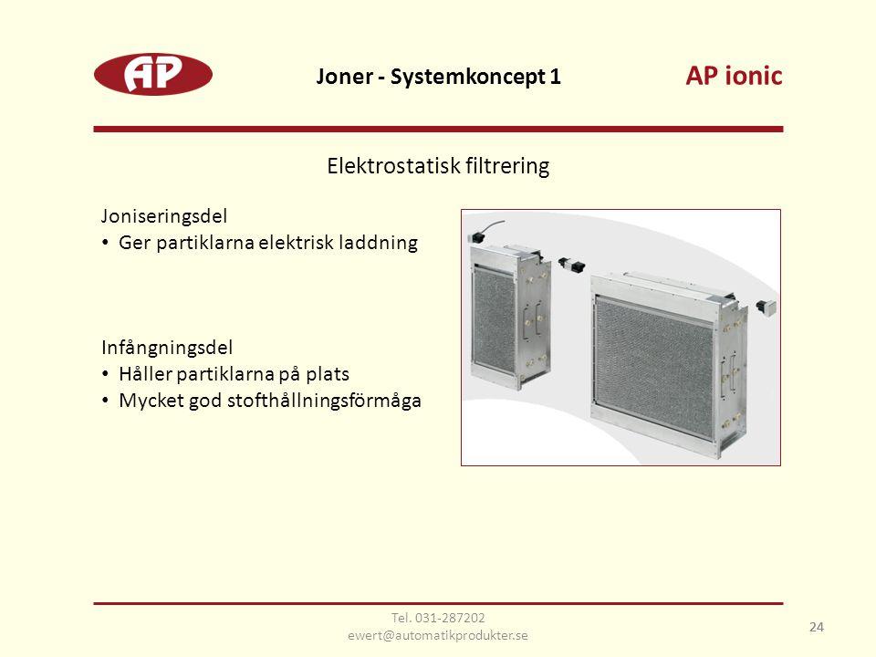 24 Joner - Systemkoncept 1 24 Joniseringsdel • Ger partiklarna elektrisk laddning Infångningsdel • Håller partiklarna på plats • Mycket god stofthållningsförmåga Elektrostatisk filtrering AP ionic Tel.