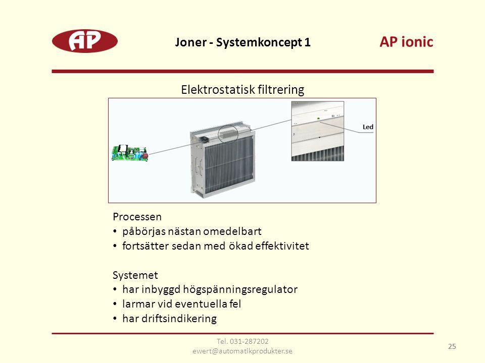 25 Joner - Systemkoncept 1 25 Elektrostatisk filtrering Processen • påbörjas nästan omedelbart • fortsätter sedan med ökad effektivitet Systemet • har inbyggd högspänningsregulator • larmar vid eventuella fel • har driftsindikering AP ionic Tel.