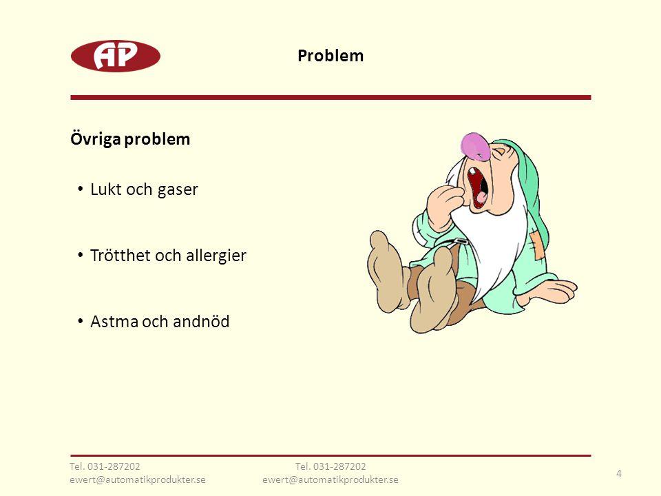 • Lukt och gaser • Trötthet och allergier • Astma och andnöd 4 Tel. 031-287202 ewert@automatikprodukter.se Övriga problem Problem Tel. 031-287202 ewer