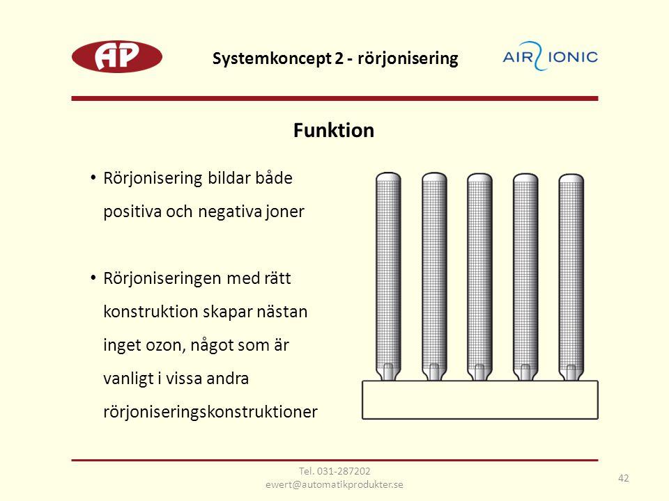 Funktion • Rörjonisering bildar både positiva och negativa joner • Rörjoniseringen med rätt konstruktion skapar nästan inget ozon, något som är vanligt i vissa andra rörjoniseringskonstruktioner 42 Systemkoncept 2 - rörjonisering Tel.