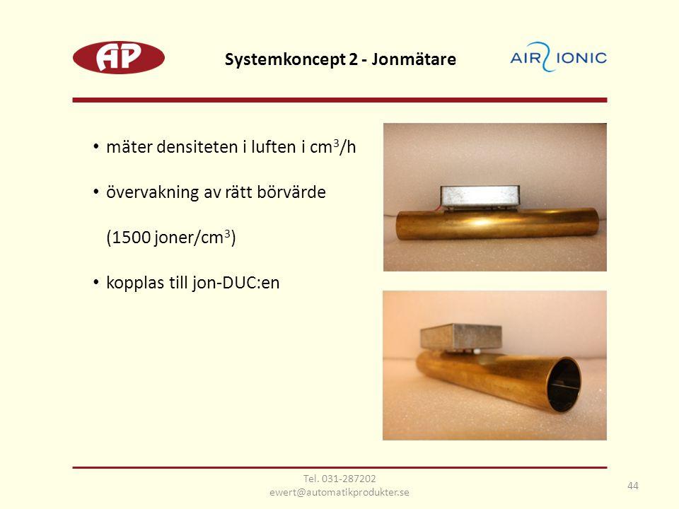 • mäter densiteten i luften i cm 3 /h • övervakning av rätt börvärde (1500 joner/cm 3 ) • kopplas till jon-DUC:en Systemkoncept 2 - Jonmätare 44 Tel.