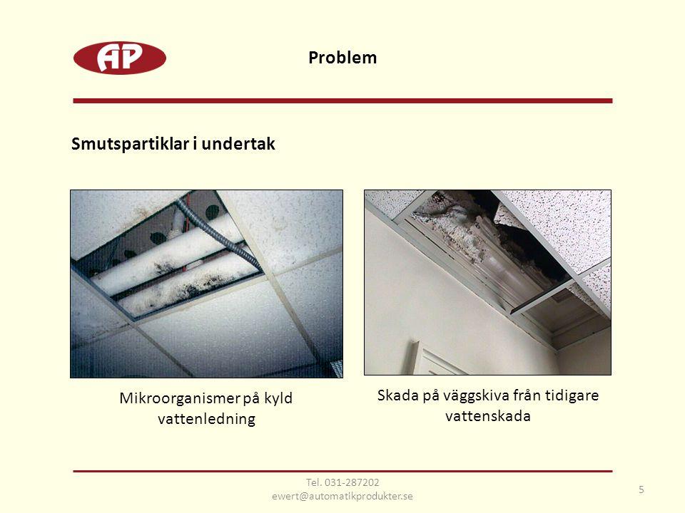 Smutspartiklar i undertak 5 Problem Mikroorganismer på kyld vattenledning Skada på väggskiva från tidigare vattenskada Tel.