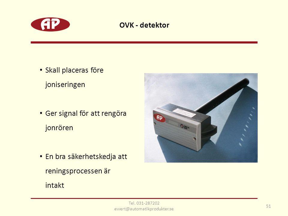 OVK - detektor 51 • Skall placeras före joniseringen • Ger signal för att rengöra jonrören • En bra säkerhetskedja att reningsprocessen är intakt Tel.