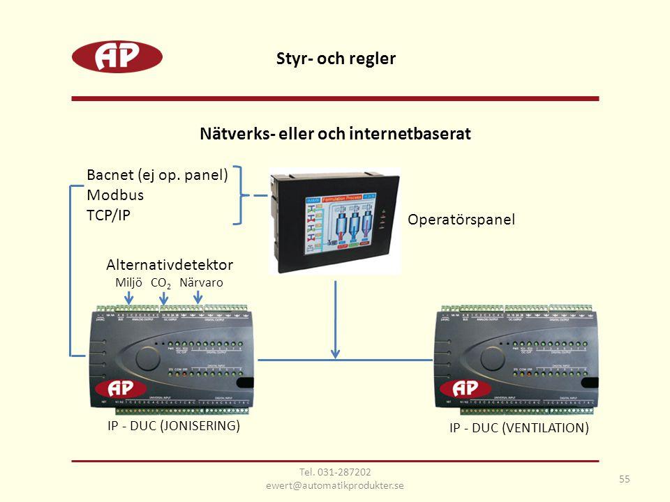 Nätverks- eller och internetbaserat IP - DUC (VENTILATION) Operatörspanel Bacnet (ej op. panel) Modbus TCP/IP IP - DUC (JONISERING) Styr- och regler 5
