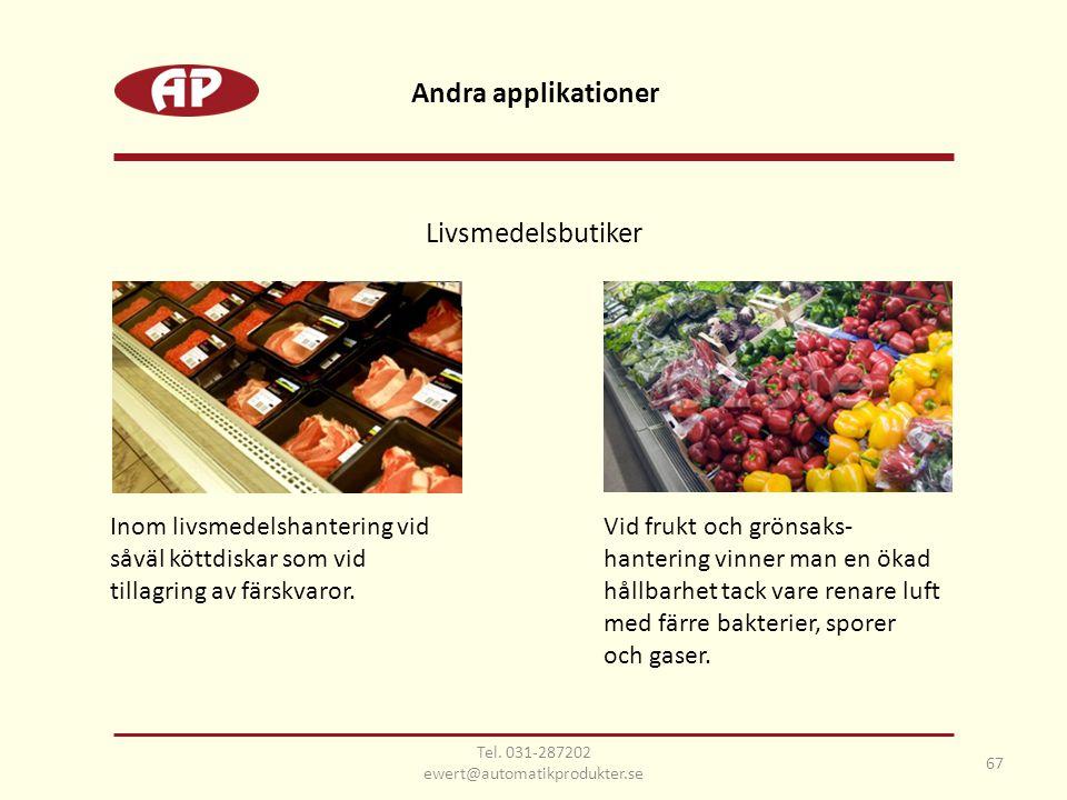 Inom livsmedelshantering vid såväl köttdiskar som vid tillagring av färskvaror. Andra applikationer 67 Tel. 031-287202 ewert@automatikprodukter.se Vid