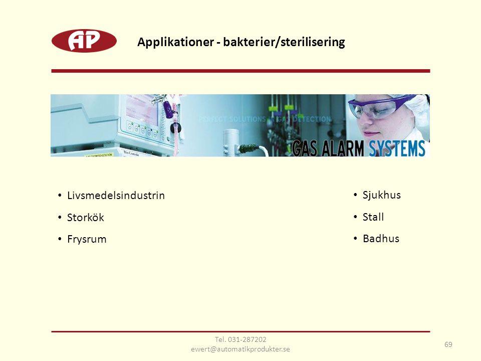 69 Applikationer - bakterier/sterilisering • Livsmedelsindustrin • Storkök • Frysrum • Sjukhus • Stall • Badhus