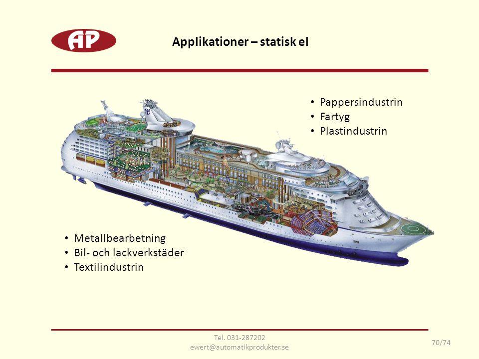 Tel. 031-287202 ewert@automatikprodukter.se 70/74 Applikationer – statisk el • Pappersindustrin • Fartyg • Plastindustrin • Metallbearbetning • Bil- o