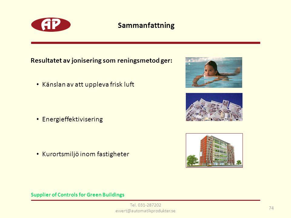 Sammanfattning 74 Resultatet av jonisering som reningsmetod ger: • Känslan av att uppleva frisk luft • Energieffektivisering • Kurortsmiljö inom fastigheter Tel.