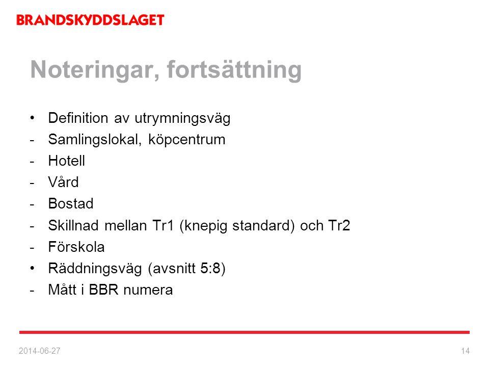 Noteringar, fortsättning •Definition av utrymningsväg -Samlingslokal, köpcentrum -Hotell -Vård -Bostad -Skillnad mellan Tr1 (knepig standard) och Tr2