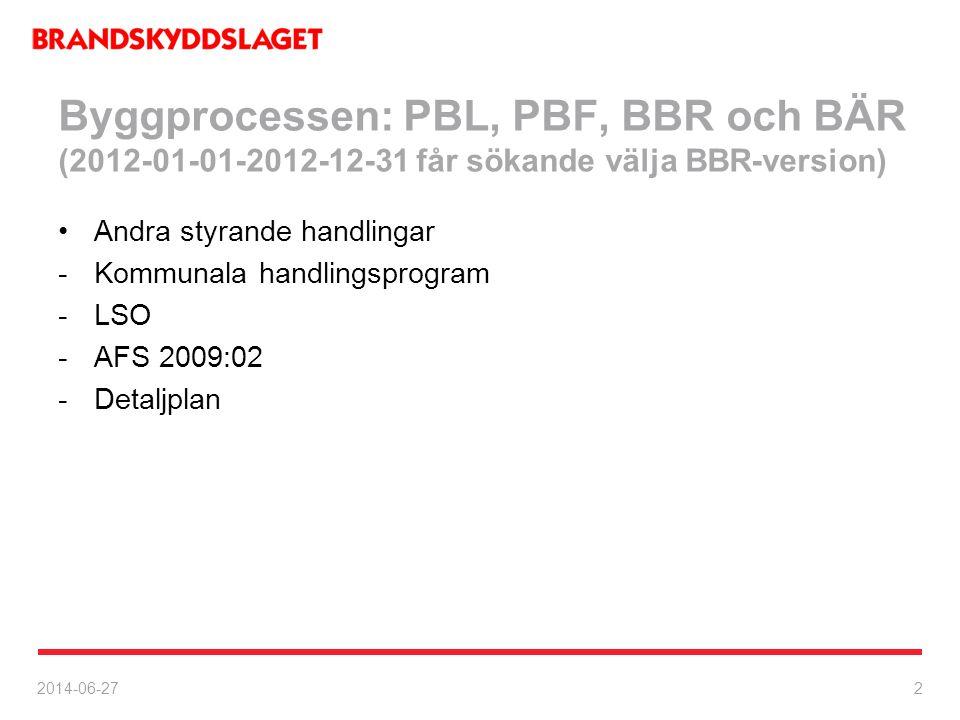 2014-06-27 2 Byggprocessen: PBL, PBF, BBR och BÄR (2012-01-01-2012-12-31 får sökande välja BBR-version) •Andra styrande handlingar -Kommunala handling