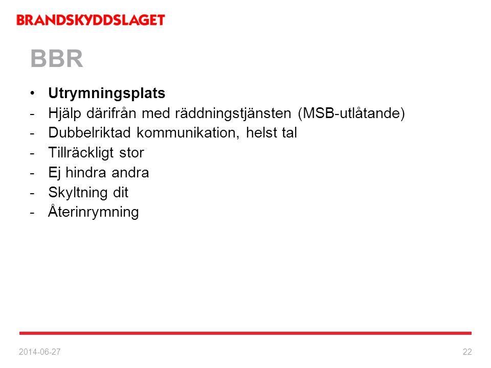2014-06-27 22 BBR •Utrymningsplats -Hjälp därifrån med räddningstjänsten (MSB-utlåtande) -Dubbelriktad kommunikation, helst tal -Tillräckligt stor -Ej
