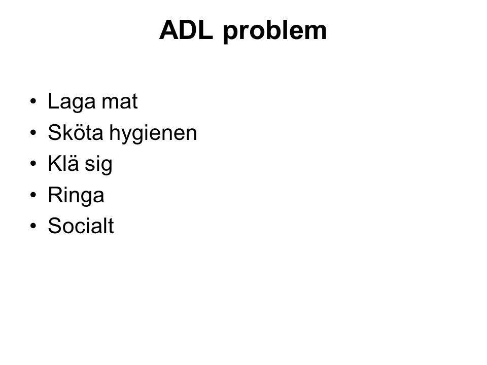 ADL problem •Laga mat •Sköta hygienen •Klä sig •Ringa •Socialt