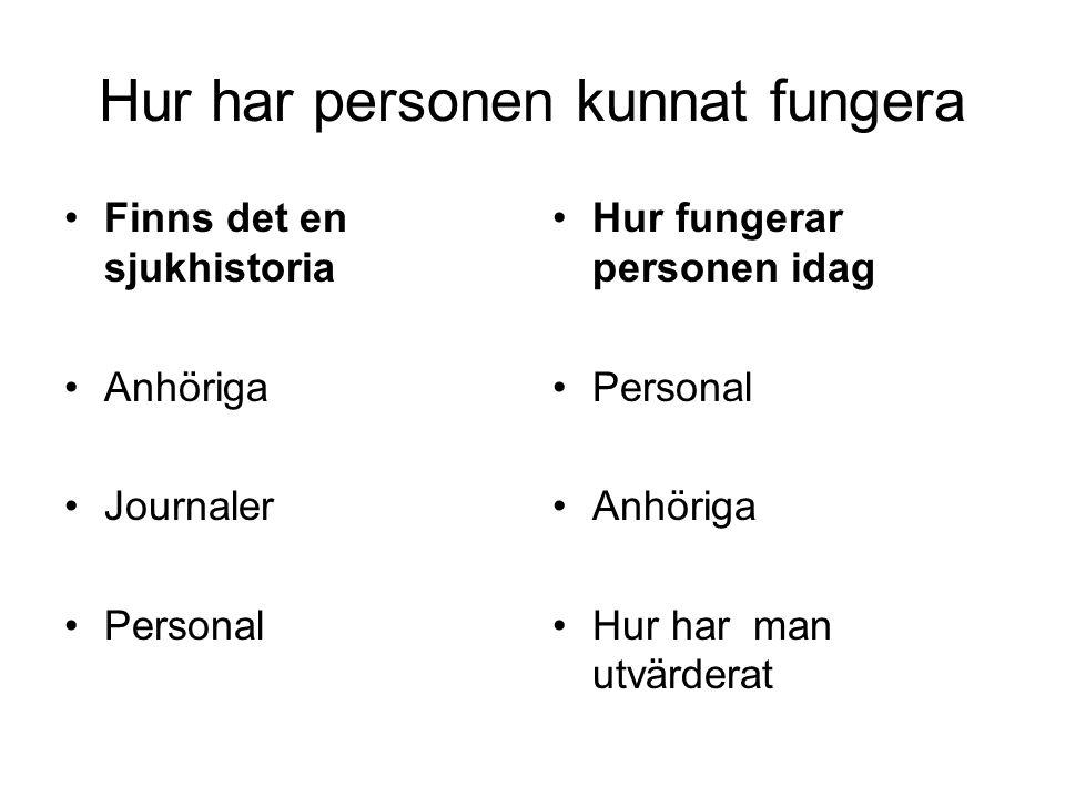 Hur har personen kunnat fungera •Finns det en sjukhistoria •Anhöriga •Journaler •Personal •Hur fungerar personen idag •Personal •Anhöriga •Hur har man