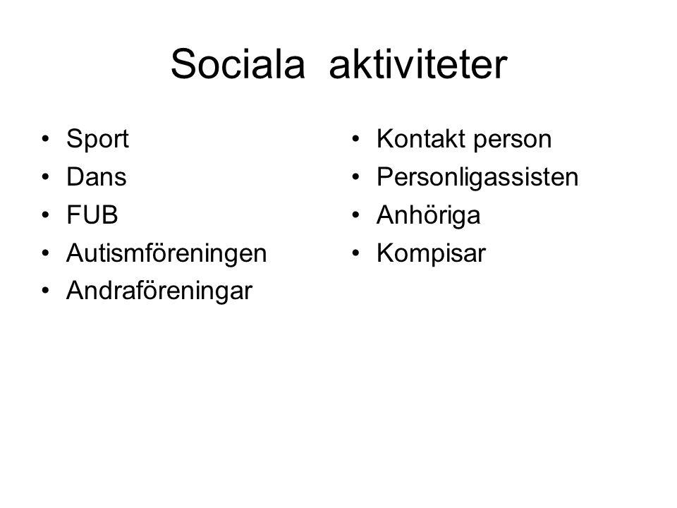 Sociala aktiviteter •Sport •Dans •FUB •Autismföreningen •Andraföreningar •Kontakt person •Personligassisten •Anhöriga •Kompisar