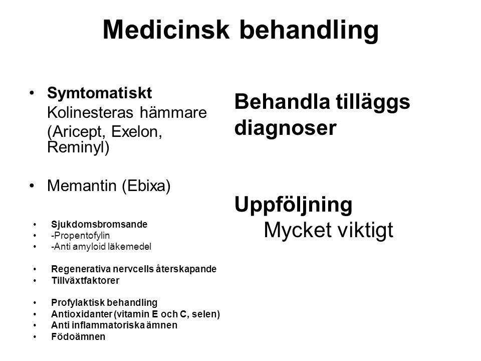 Medicinsk behandling •Symtomatiskt Kolinesteras hämmare (Aricept, Exelon, Reminyl) •Memantin (Ebixa) •Sjukdomsbromsande •-Propentofylin •-Anti amyloid