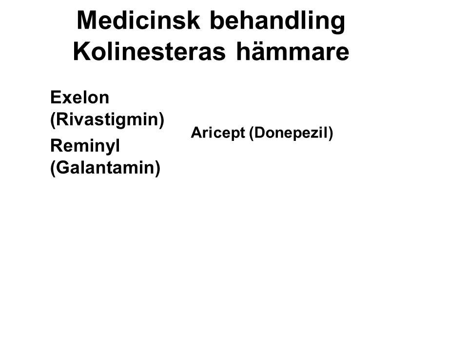 Medicinsk behandling Kolinesteras hämmare Exelon (Rivastigmin) Reminyl (Galantamin) Aricept (Donepezil)