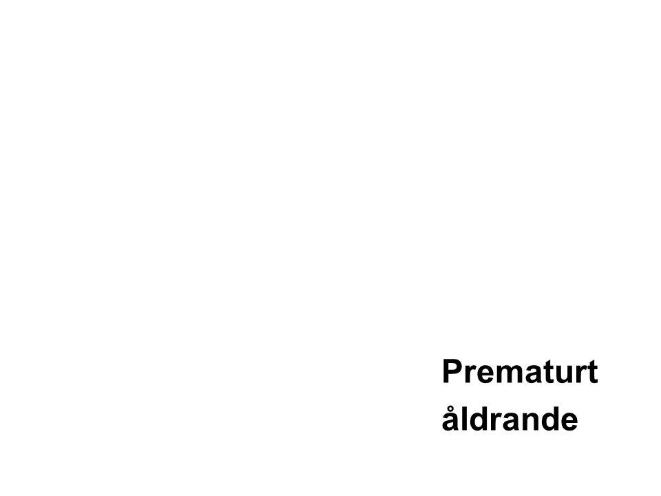 Livsstil relaterat till prematurt åldrande •Alkolism •Fysisk inaktivitet •Bristfällig kost •Rökning orsakar •Cancer •Hjärtsjukdom •Impotens •Sänkt IQ •En studie i Skottland •Såg hos personer som testades vid 11 års ålder och sedan vid 64 år att rökare var sämre i 5 test än icke rökare •Dr Lawrence Whalley University of Aberdeen