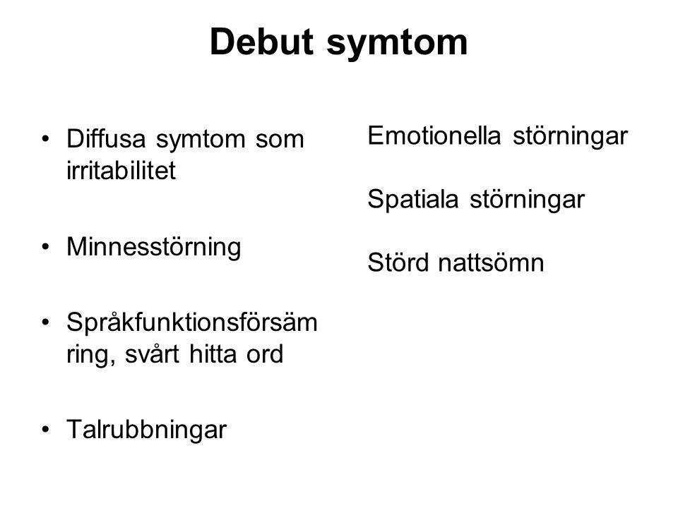 Nästa fas •Förlust av orientering •Amnesia, minnessvaghet •Talrubbning •Dyspraxi, svårighet utföra koordinerade rörelser •Agnosi, oförmåga känna igen med känseln, synen, hörseln Aphasi Ökad muskeltonus