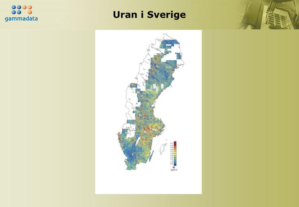Svenska jordarter JordartRadium-226 Radon-222 Bq/kg*Bq/m 3 Morän, normal 15 - 65 10 000 - 40 000 Morän med granitiskt material 30 - 75 20 000 - 60 000 Morän med uranrikt granitiskt material 75 - 360 40 000 - 200 000 Åsgrus 30 - 75 10 000 - 150 000 Sand, silt 6 - 75 4 000 - 50 000 Lera 25 - 100 10 000 - 120 000 Jordarter som innehåller alunskiffer 175 - 2 500 50 000 -> 1 miljon Normala halter av Radium-226 och Radon-222 uppmätta på 1 m djup.