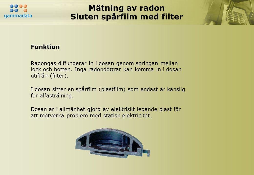 Mätning av radon Sluten spårfilm med filter Funktion Radongas diffunderar in i dosan genom springan mellan lock och botten. Inga radondöttrar kan komm